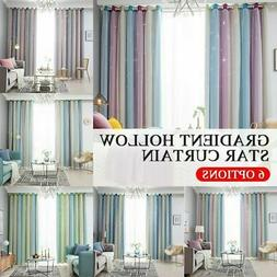 2 Layer Stars Window Curtain Blackout & Tulle Drapes Living