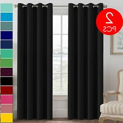 Set of 2 Grommet Thermal Insulated Blackout Curtains for Liv