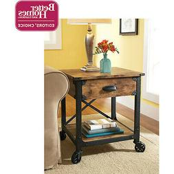 Antiqued Side Table End Nightstand Rustic Country Wood Bedsi