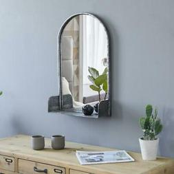 Wall Hanging Mirror Rustic Metal Frame Arched Wall Decor Bat