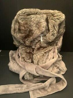 Ext Large Pottery Barn Bath Ombre Tipped Faux Fur ROBE Hood