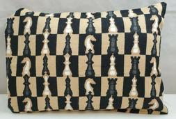 """Handmade Flannel Travel Pillow Cover/Case 20"""" by 14"""" Chess T"""