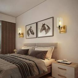 Modern Gold Wall Light Sconce with Glass Shade Hallway Bedro