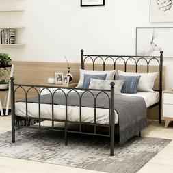 Home Bedroom Furniture with Sturdy Metal Slats and Vintage H