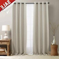 Indoor Linen Blend Solid Window Curtain Drapes Blackout Room
