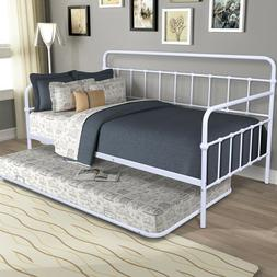 Metal Contemporary Frame Daybed With Trundle in White Home B