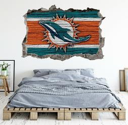 Miami Dolphins Wall Art Decal 3D Smashed Football Kids Bedro