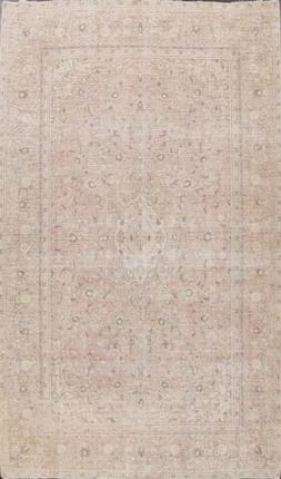 Muted Pink Semi Antique Kirman Distressed Area Rug Evenly Lo