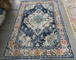 """NAVY / LIGHT BLUE 5'-1"""" X 7'-7"""" Flaw in Rug Reduced Price 11"""