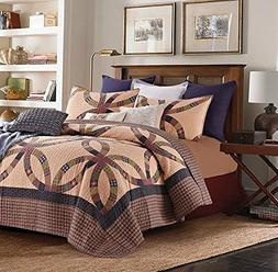 PRIMITIVE WEDDING RING 3p King QUILT SET : COUNTRY CABIN BRO