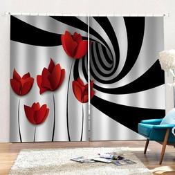 Roses Whirlpool Scenery Window Curtains Drapes Bedroom Trows