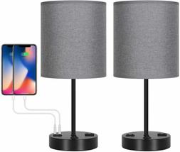 Set of 2 Modern Table Desk Lamp with Dual USB Charging Port