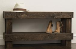 Solid Wood Bench Small Entryway Seat Rustic Farmhouse Living