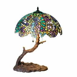 Tiffany-style Green Purple Stained Glass Shade Branch Shape