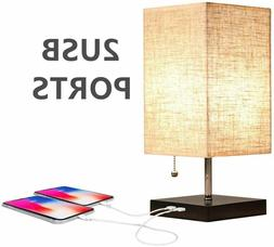 USB Bedside Table Lamps Modern Nightstand Lamp with Charging