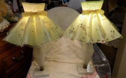 VINTAGE BEDROOM END TABLE LAMPS~SATIN GLASS/MARBLE BASE~BLOS